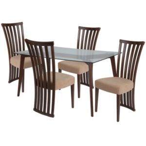 Best Monterey 5 Piece Walnut Wood Dining Table Set With Glass 400 x 300