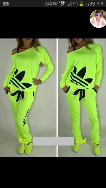 Bright lime green sweat outfit