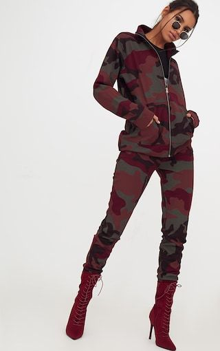 e5c4eafd0ac0a Burgundy Camo Oversized Tracksuit TopIn a must-have burgundy camo print,  featuring a zip