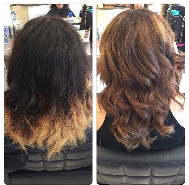 Amazing before and after by our beautiful Em! We love! #hairbyemma #mhs #balyage