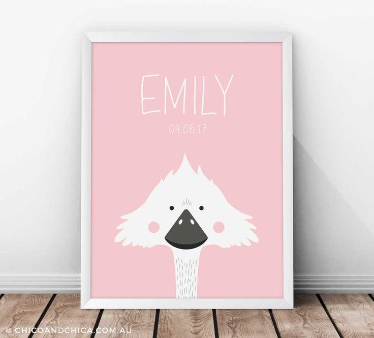 Personalised Australian Animals - Emu - Kids Print - Chico & Chica