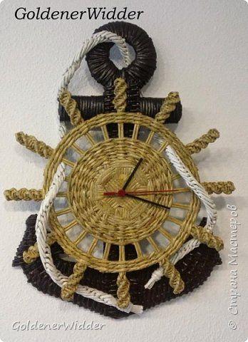Paper woven anchor and ship wheel.