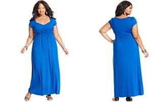 Soprano Plus Size Cap-Sleeve Empire Maxi Dress