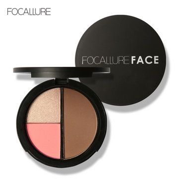 FOCALLURE 3 In 1 Shimmer Bronzer Palette Makeup Contour Kit Highlight Blush Face Pressed Mineral Pow