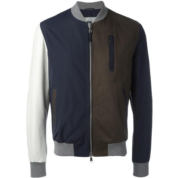 Eleventy block colour bomber jacket (2.470 BRL) ❤ liked on Polyvore featuring men's fashion, men's clothing, men's outerwear, men's jackets, blue, mens blue jacket, mens real leather jackets, mens leather bomber jacket, mens leather jackets and mens blue bomber jacket