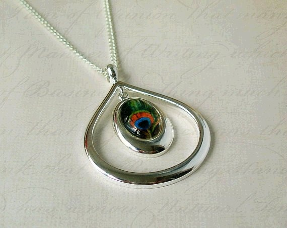 Vintage Colourful Peacock Feather, Silver Plated Drop Cabochon Setting on a Chain