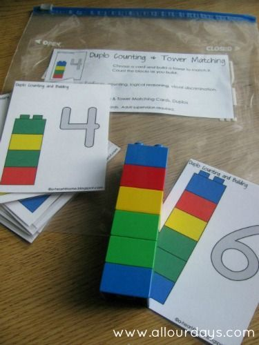 Duplo Counting & Tower Matching Busy Bag, Part of 31 Days of Busy Bags & Quiet Time Activities @ http://AllOurDays.com