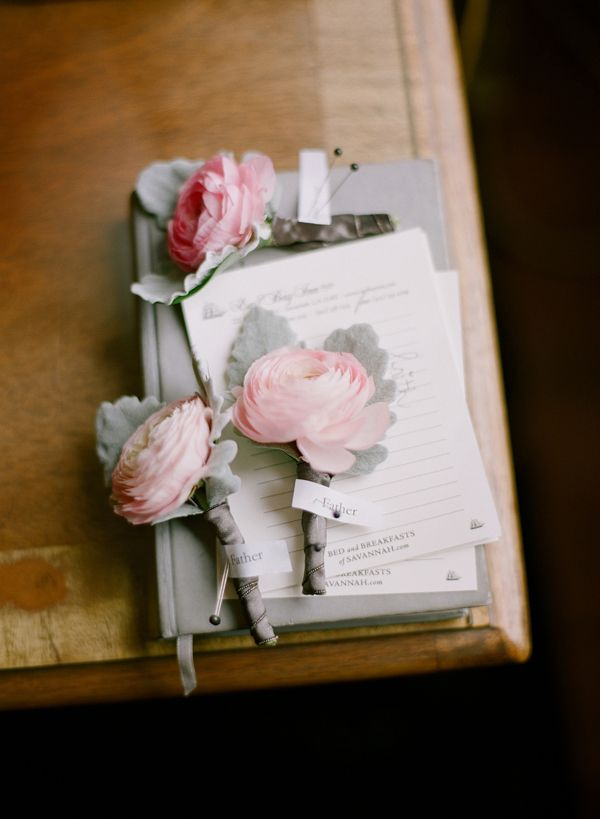 Ranunculus and dusty miller boutonniere
