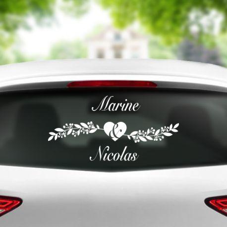 Sticker pour voiture de mariage - personnalisable avec le prénom des mariés