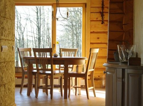 Kitchen Interior, Kitchen table and chairs. natural wood