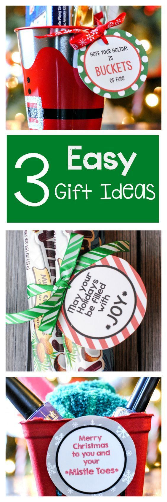 3 Easy Gift Ideas with Free Printable Gift Tags! Grab a bucket, some Almond Joy candies or some Nail Polish and pedicure supplies and attach her cute FREE Printable Gift tags with these cute ideas! | Crazy Little Projects