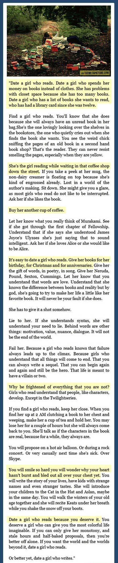 Find a girl who reads… one of my all time favorite quotes.
