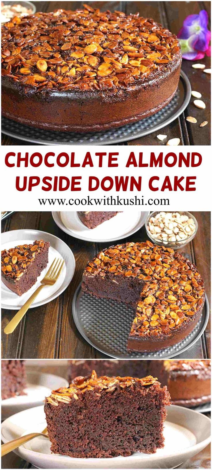 Chocolate Almond Upside Down Cake is super soft and moist, delicious melt in mouth cake with caramelized topping in every single bite making it a perfect treat for this holiday season. #Immaculateholidays #immaculatebaking #buzzfeedfood #feedfeed @bhg  @immaculatebakes #holiday #christmas #thanksgiving #parties #bake #chocolate #sweet #dessert #food #foodie