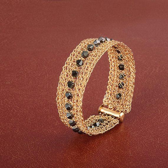 Black Swarovsky Narrow gold cuff bracelet. Wire #jewelry #bracelet @EtsyMktgTool #blackswarovsky #black #narrowcuffbracelet