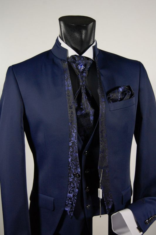 Wedding suit blue slim fit guru model ceremony musani