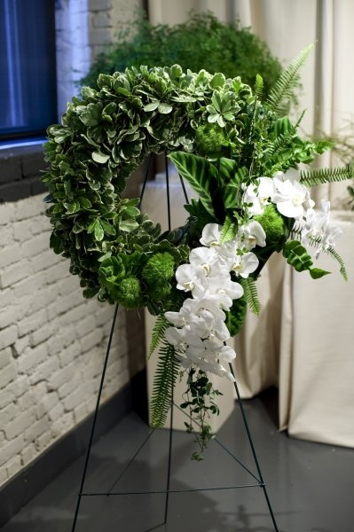 Pitosporum and phalaenopsis wreath.