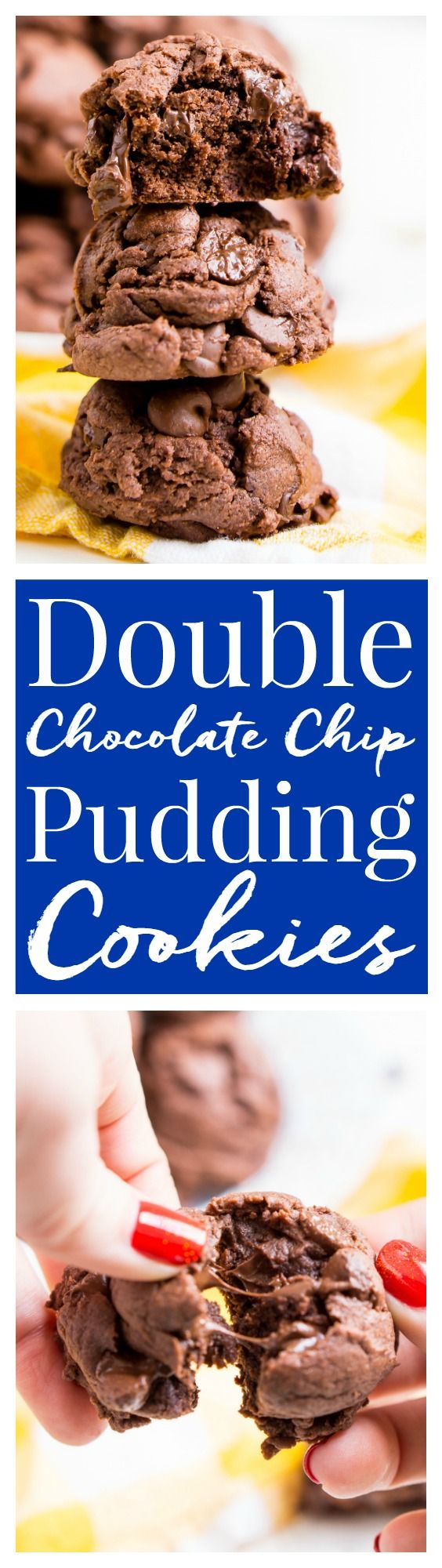 These Double Chocolate Chip Pudding Cookies have a slightly crisp outer shell and are chewy and gooey on the inside almost like a brownie. Pull the first batch out of the oven in 30 minutes! via @sugarandsoulco