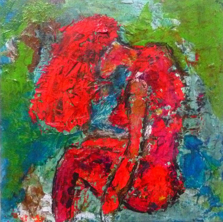 """""""Red love"""". Peinture acrylique réalisée sur carton entoilé. Pièce unique : création originale de l'artiste Soffya. © Tous droits réservés (article L 112-1 du code de la propriété intellectuelle). Format : 25x25"""