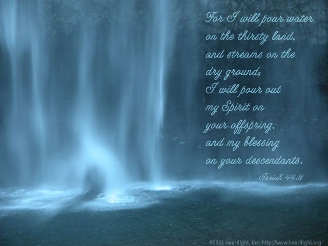 Inspirational illustration of Isaiah 44:3 -- For I will ...