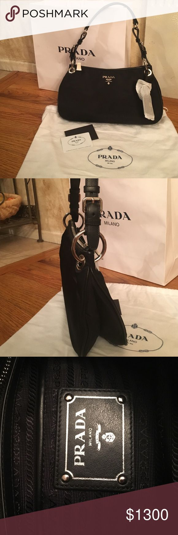 GORGEOUS Black Prada Handbag  NWOT BRAND NEW! Authentic Black Prada Handbag  NWOT. Comes with linen bag and authenticity certificate card  Never Worn  Product #: BR4894  Material: Tessuto Soft Prada Bags Shoulder Bags