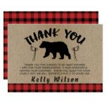 Lumberjack Theme Baby Shower Thank You Card