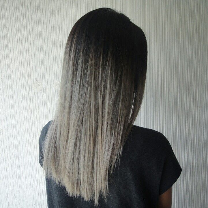 Asian hair, ombre, ash blonde, high contrast ombre