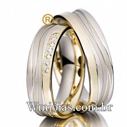 Alianças de Casamento Desenhadas, em Ouro Branco e Amarelo 18K - WM2247