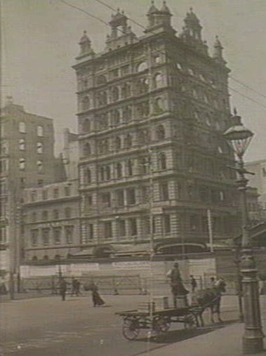 Finks Building (demolished) - 276 Flinders Street. MELBOURNE Australia. The 10 storey building was Melbournes tallest when built, just slightly smaller than the nearby Australian building (13 storeys). The tower originally featured a complex undulating Mannerist facade crowned by several picturesque features on the skyline, including a high mansard roof. The picturesque effect of the building was removed from the city skyline after the building was destroyed by fire.
