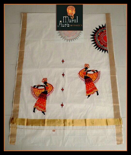 Contemporary art incorporated beautifully into a very traditional kerala handloom cotton sari  9500055715  artmuralaura@gmail.com  #muralaura #muralart #handpainted #somethingneweverytime #indianart #handloom #cotton #sari #keralamurals #contemporary #handcrafted #indianhandicrafts #madeinindia