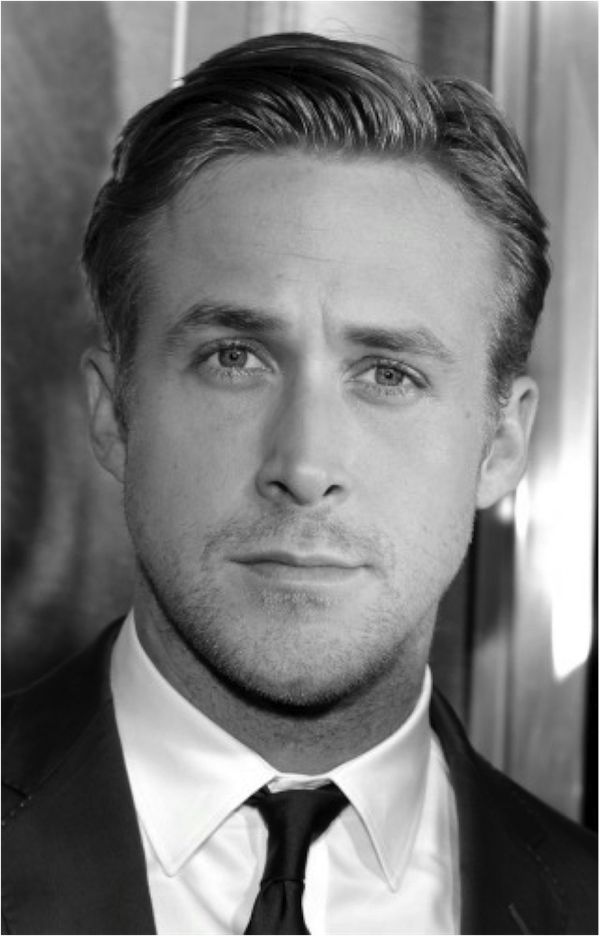 Ryan Gosling. A slick side part is a commanding look. To achieve this look, use a pomade (I like American Crew) and run it through your hair while it's still damp. Take your comb and create your part. Make a small wave on the front of your hair by combing your bangs up and back towards the side.