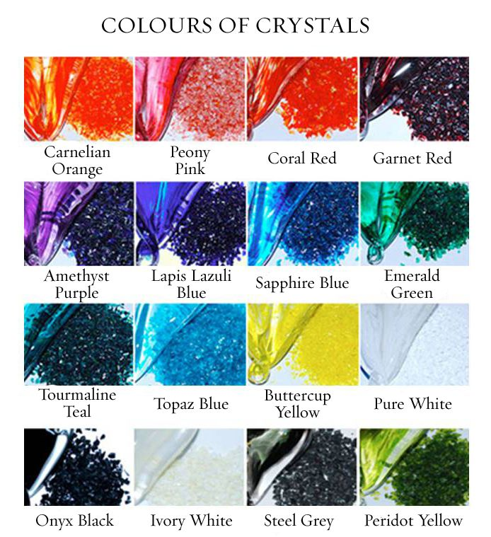 Our Crystal Colour Chart.  For your sculpture, will you select your personal favorite colours?  Your wedding theme colours?  Maybe Emerald Green for the colour of his eyes, or Topaz Blue because you're getting married near the sea?  The choice is entirely yours, and we love to see what our couples create....