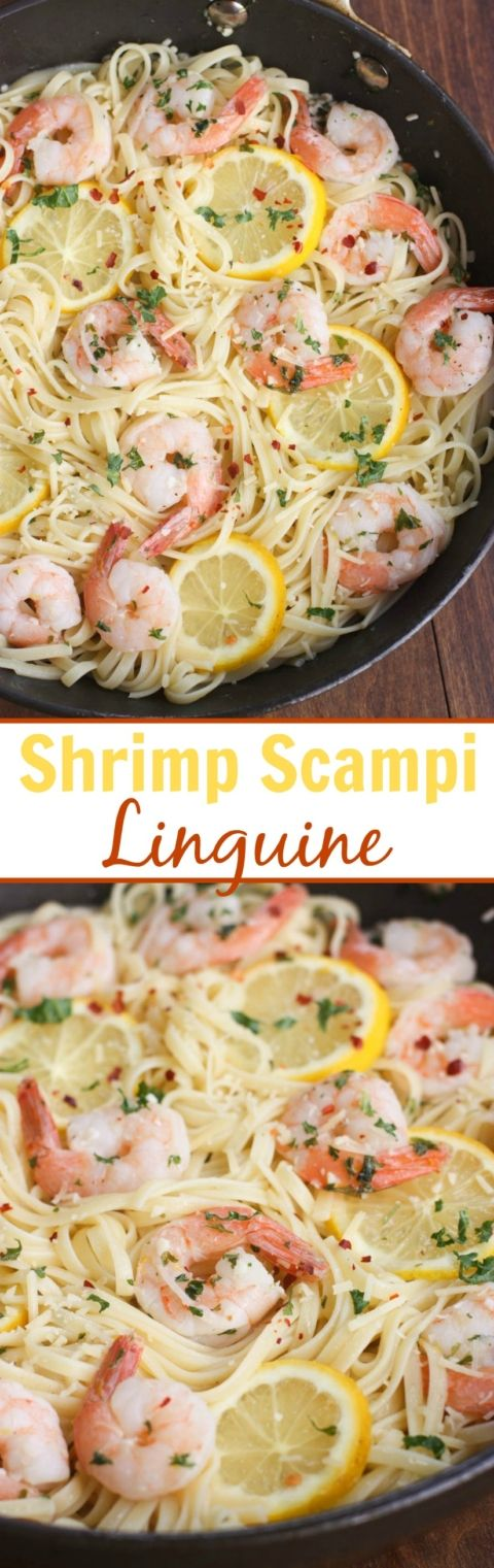 Garlic sauteed shrimp covered in a lemon butter sauce, served with linguine. An easy dinner idea that takes less than 20 minutes to make.| Tastes Better From Scratch
