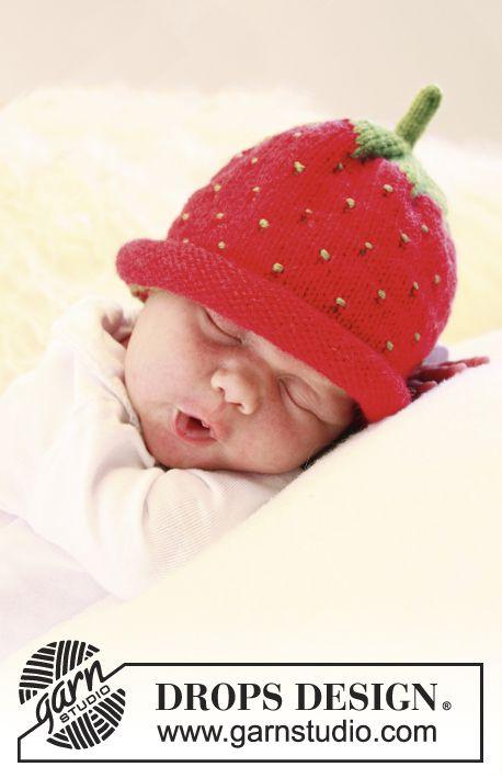 Stickad jordgubbsmössa eller blåbärsmössa till baby och barn i DROPS Alpaca