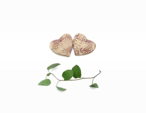 Heart ornaments rustic Christmas decoration gold by CloudPearls, €9.00