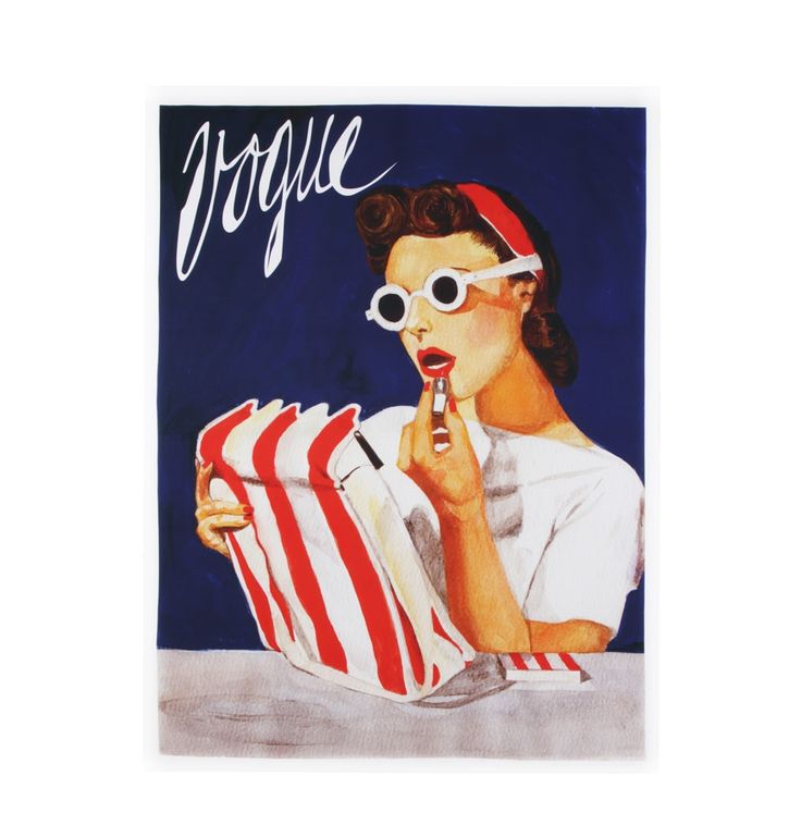 Vintage Style Vogue Lipstick Stretched Canvas - 110 x 150
