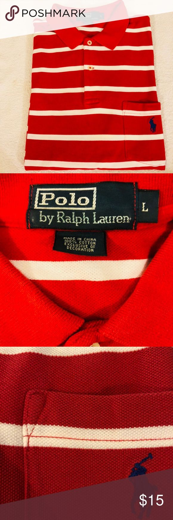 Polo Ralph Lauren Red & White Stripe Polo Shirt L Polo Ralph Lauren Red and White Stripe Short Sleeve Polo Shirt size L! Like new! Please make reasonable offers and bundle! Ask questions! :) Polo by Ralph Lauren Shirts Polos