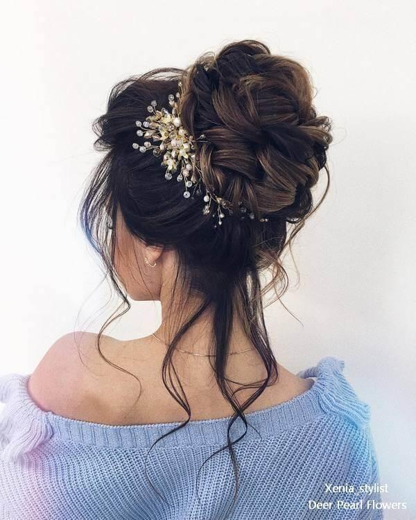 High Bun Bridal Hair Accessories Flower Crown Hairstyle Wedding Hair Accessories
