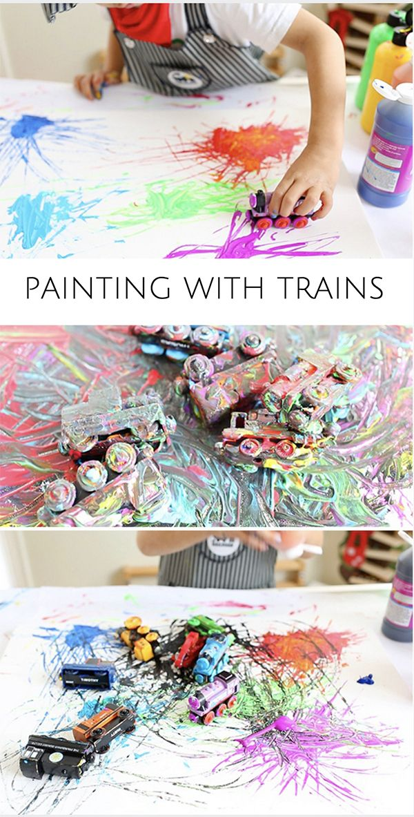 Painting With Trains. Fun and easy process art for kids. Watch the video to see it in action!
