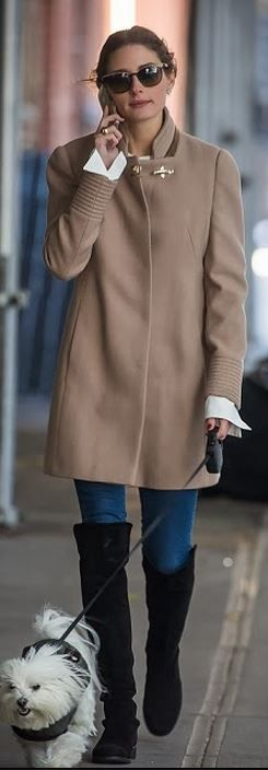 Who made  Olivia Palermo's tan buckle coat and black suede thigh high boots that she wore in New York?