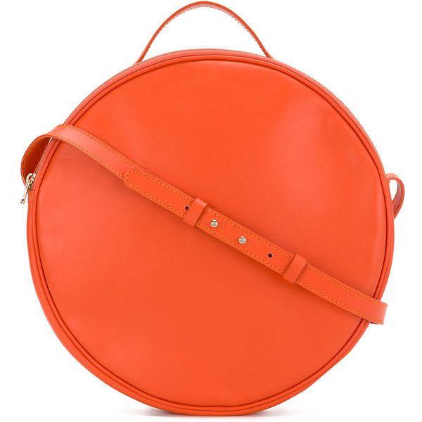 Marios round shoulder bag ($565) ❤ liked on Polyvore featuring bags, handbags, shoulder bags, orange, zip shoulder bag, orange purse, orange shoulder bag, round handbags and zipper shoulder bag
