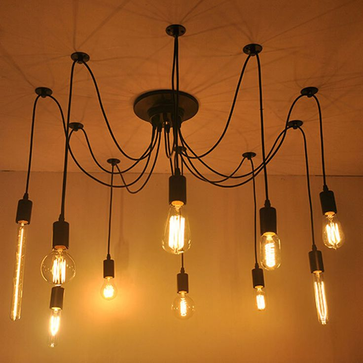 Fuloon Retro Industrial Vintage Edison Multiple Ajustable DIY Ceiling Fixtures Spider Lamp Pendant Lighting Chandelier Modern Chic For Indoor Foyer Dining