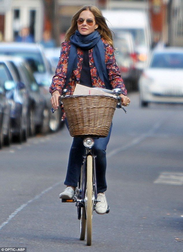 Young at heart: Trinny Woodall keeps herself in tip top shape by choosing to cycle rather than drive whilst out in London
