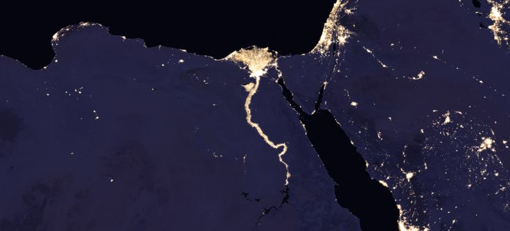 Composite image of Nile River and surrounding region at night, 2016.  Credits: NASA Earth Observatory images by Joshua Stevens, using Suomi NPP VIIRS data from Miguel Román, NASA's Goddard Space Flight Center