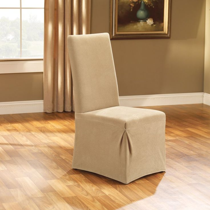 Sure Fit Stretch Pique Long Dining Room Chair Two Piece Slipcover