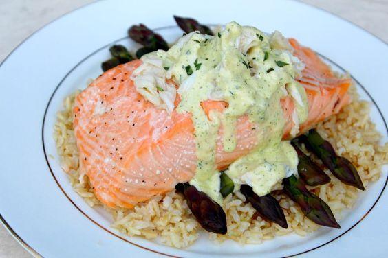Salmon Oscar with Purple Asparagus and Blender Bearnaise Recipe byThe Hungry Goddess