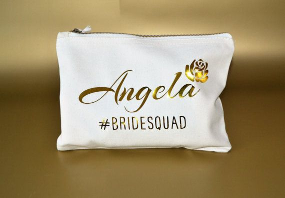 Personalised Bridesmaid makeup bag Customised by ZoeEdenWeddings. Get this as gifts for your Bridesmaid with their names on it :)