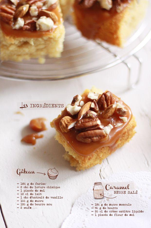 Gâteau du dimanche, caramel et noix (beurre du caramel salé) - salted caramel and nuts