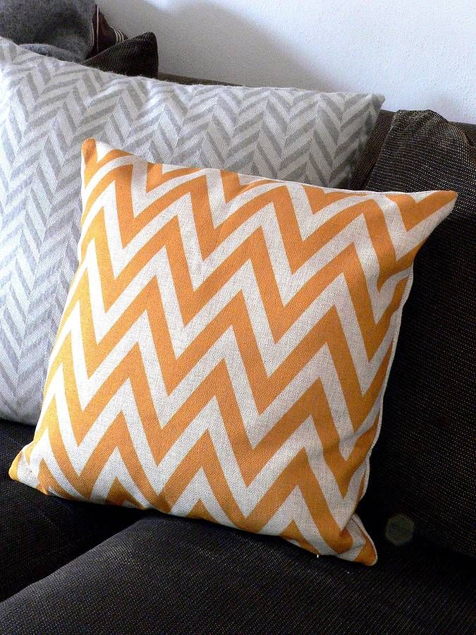 Chevron cushion in linen cotton blend.Yellow, Black or grey A lovely linen and cotton blend cover, with a hidden zip, filled with a sumptuous polyester filling.Cotton and linen blend cushion cover with a polyester pad.45x45cm