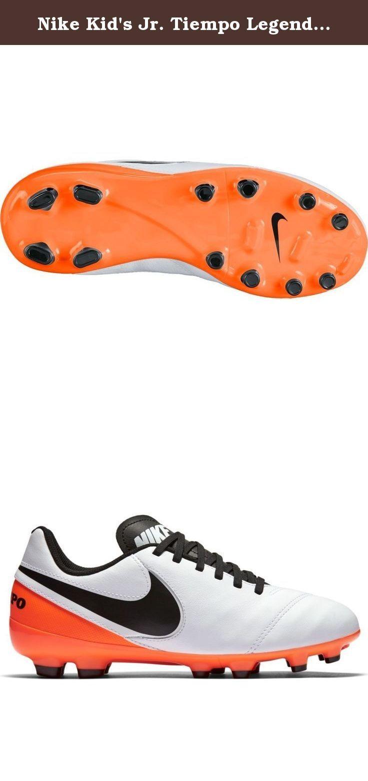 Nike Kid's Jr. Tiempo Legend VI FG Soccer Cleat (Sz. 1Y) White, Total Orange. Leather kids cleats.