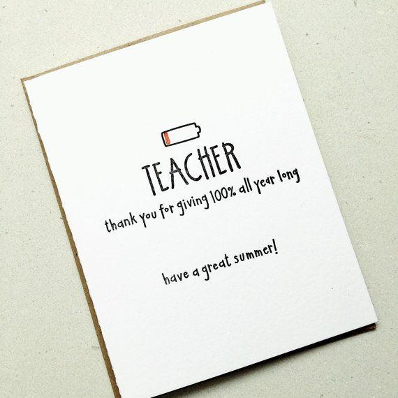 Thanks Teacher Card Thank You Letterpress End by carolyndraws